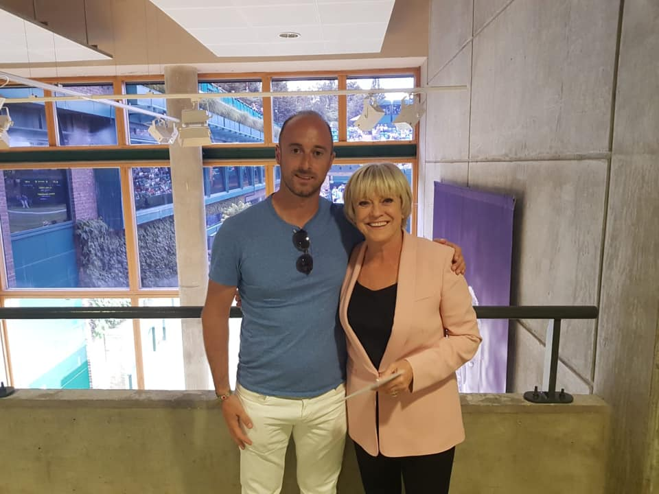 Adam Cox with Sue Barker